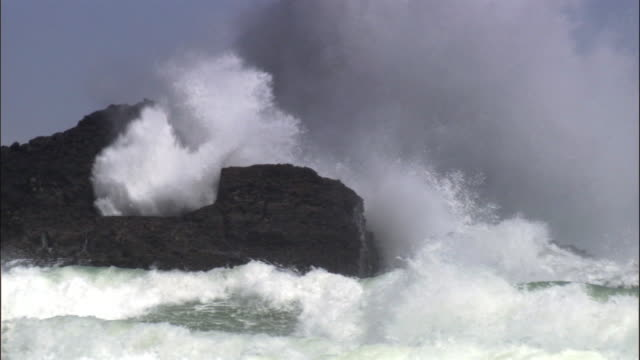 Waves crash over rocks during storm, New Zealand