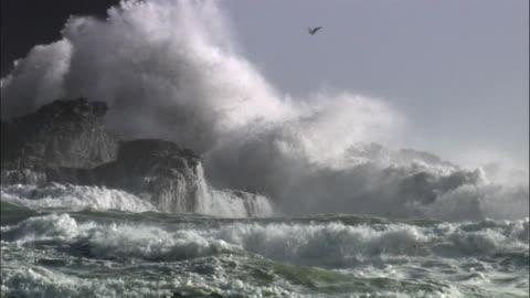 stockvideo's en b-roll-footage met waves crash over rocks during storm, new zealand - klif