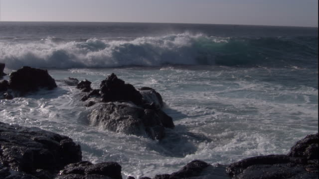 Waves crash over rocks on the shore of Fernandina Island. Available in HD.