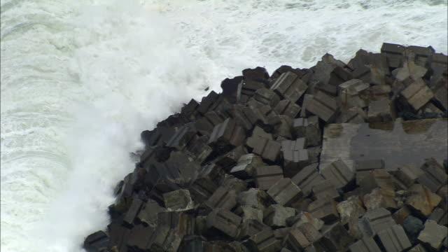 CS, HA, Waves crashing against breakwater, Biarritz, Aquitaine, France