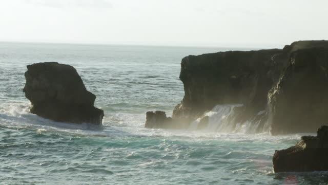 WS SLO MO Waves crashing against cliffs / Nusa Lembongan, Klungkung, Indonesia