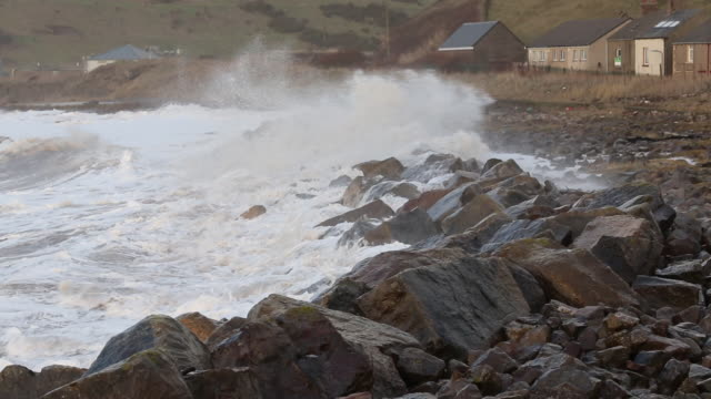 Waves crashing off Parton near Whitehaven during t