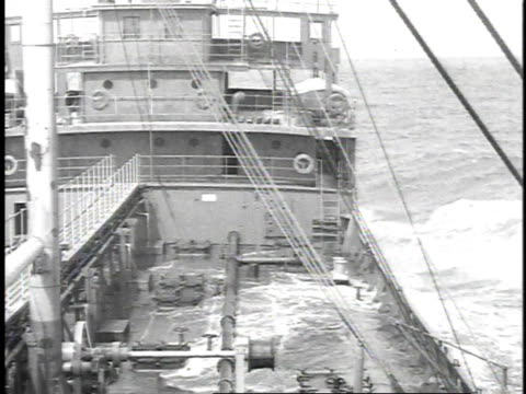 1923 b/w waves crashing on a ship's deck in rough seas - 1923 stock videos & royalty-free footage