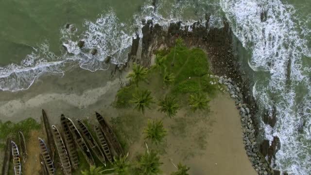 av waves crashing on beach, ghana - elmina stock videos & royalty-free footage