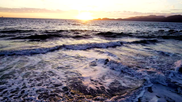 waves crashing on beach sunset on pacific coast of san francisco , california , usa - pacific coast stock videos & royalty-free footage