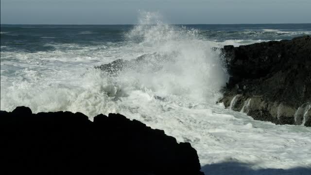 vidéos et rushes de waves crashing on pacific coast with sea foam, oregon - littoral