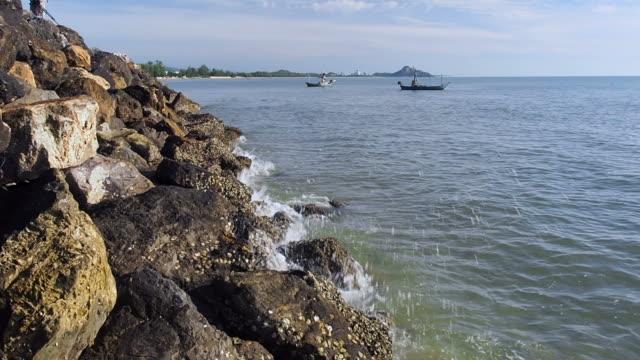 stockvideo's en b-roll-footage met golven die breken over rotsen - twijg