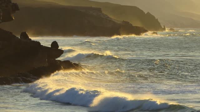 ws waves hitting rocky coast during a foggy sunset/ fuerteventura, canary islands - nordatlantik stock-videos und b-roll-filmmaterial