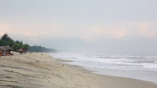ws waves moving towards vietnamese crescent beach with alone fisherman with sea mist / hoi an, quang nam, vietnam - palapa stock videos & royalty-free footage