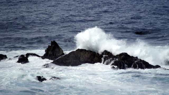 Waves on rock - slow motion