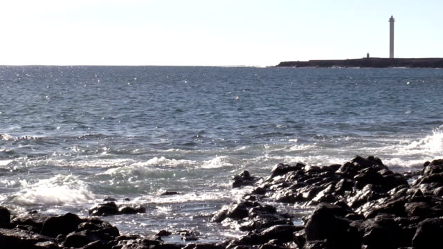 waves on rocky shore with horizon headland and lighthouse