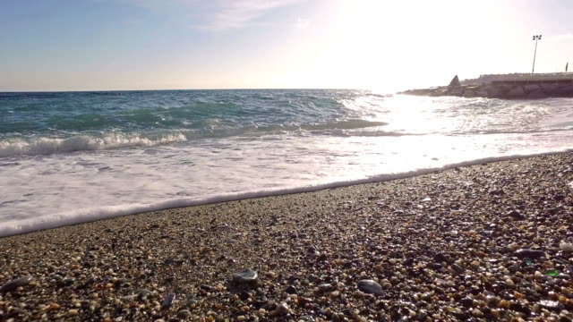 waves on the beach in winter season - pjphoto69 stock videos & royalty-free footage