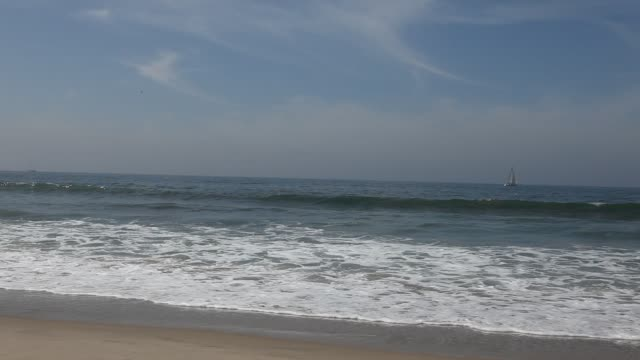 Waves on the beach of Venice Beach in Los Angeles California USA