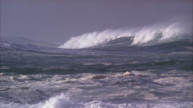 Waves pick up on stormy sea Available in HD.