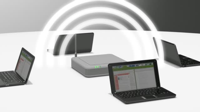 vídeos y material grabado en eventos de stock de cu waves pulsing out from wifi router surrounded laptops / greece    - cinco objetos