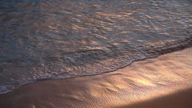 waves reflect a sunrise at nukoli'i beach in lihue, hawaii. - insel kauai stock-videos und b-roll-filmmaterial