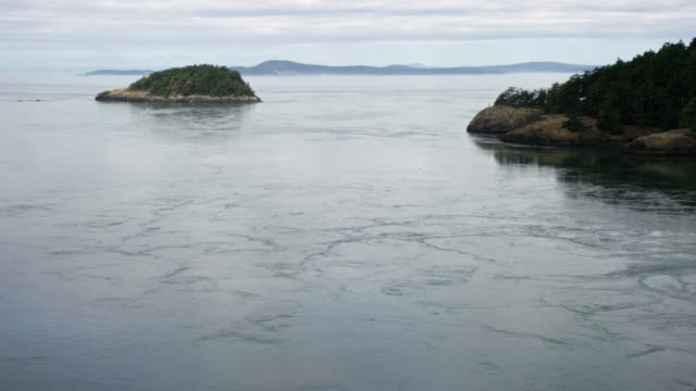 waves ripple across the water near friday harbor and san juan island in washington on a partly sunny day - north pacific stock videos & royalty-free footage