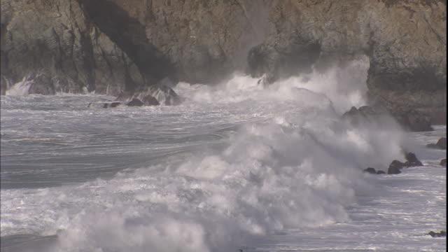 Waves roll towards a rocky coastline at Big Sur, California.