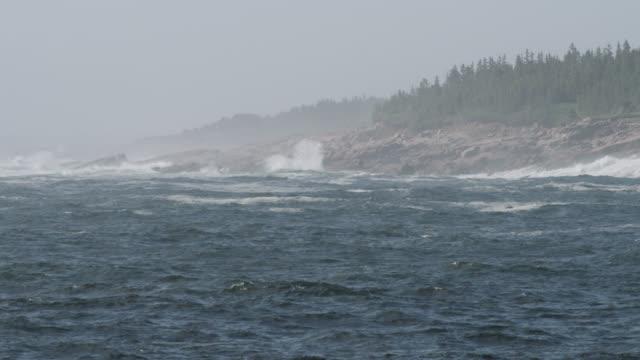 waves splash against rocky coast, nova scotia, canada - küstenlandschaft stock-videos und b-roll-filmmaterial