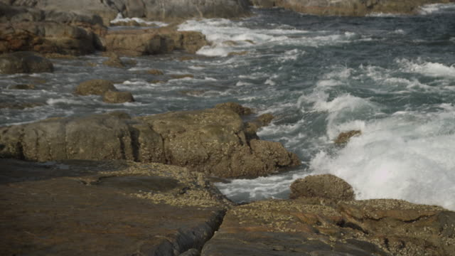 waves splash onto rocky coast, oman - golfstaaten stock-videos und b-roll-filmmaterial