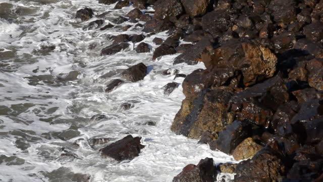 hd che si increspa sulle coste rocciose - costa dell'oregon video stock e b–roll