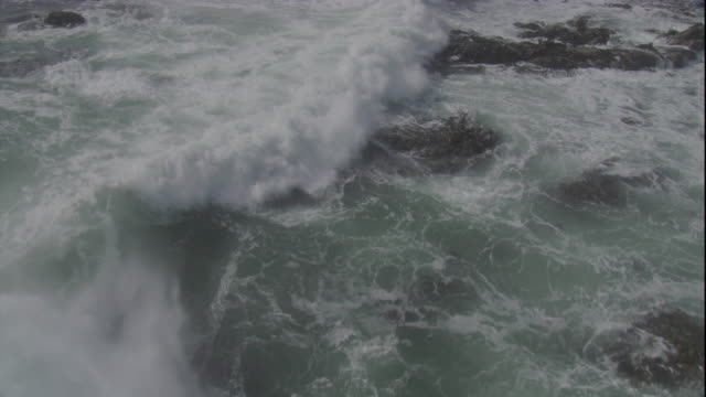stockvideo's en b-roll-footage met waves wash over rocks on the falkland islands. available in hd - getijde