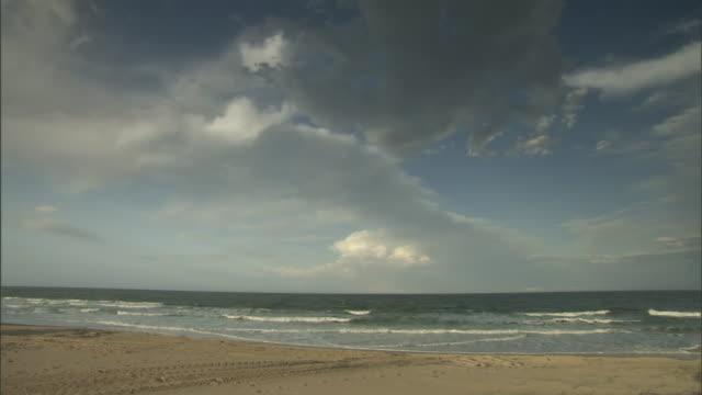 waves wash over tire tracks on the beach. - querfeldeinrennen stock-videos und b-roll-filmmaterial