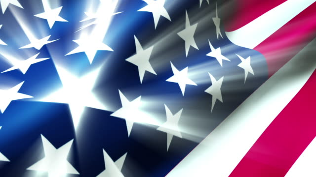 Waving American Flag with Light Effects