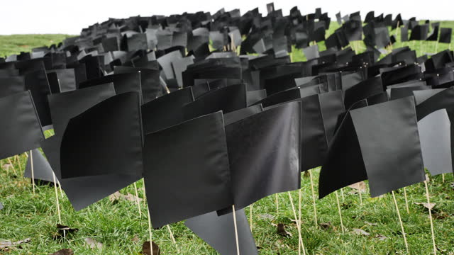 waving black flags mark 6000th hungarian victim of coronavirus on december 09, 2020 in budapest, hungary. the improvised monument was erected by the... - eastern european culture stock videos & royalty-free footage