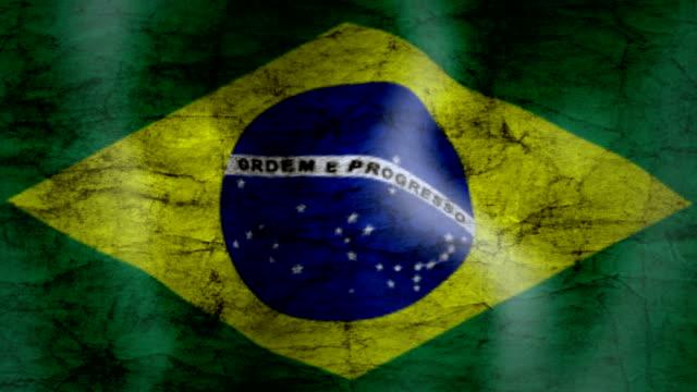 Waving Flag of Brazil, grunge look