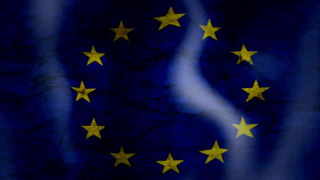 Waving Flag of EU, grunge look