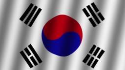 Waving flag of South Korea . Animation. Footage. Background.