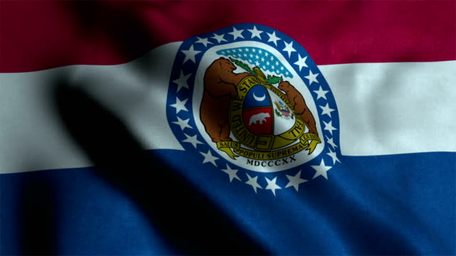 Waving Flag Of The US State of Missouri