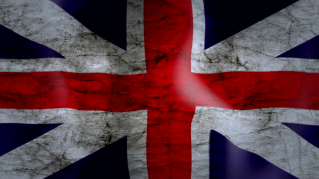 waving flag of united kingdom, grunge look - bandiera del regno unito video stock e b–roll