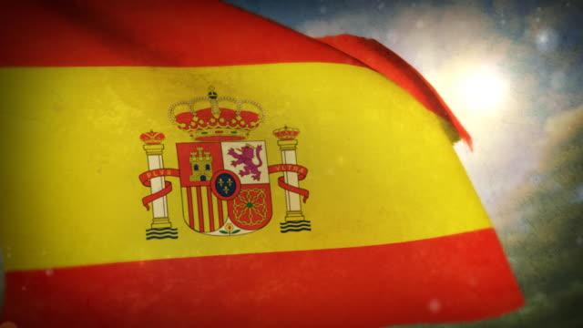 手を振るフラッグ-スペイン - スペイン国旗点の映像素材/bロール