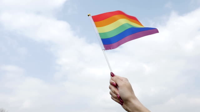 Waving rainbow pride stick flag against sky