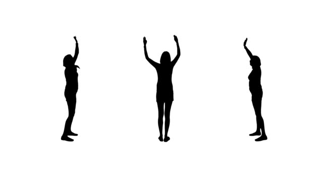 Waving woman silhouettes