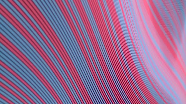 vídeos de stock e filmes b-roll de wavy digital animation of striped pattern of floating multicolored lines. line art geometric background. 3d rendering hd - objeto decorativo