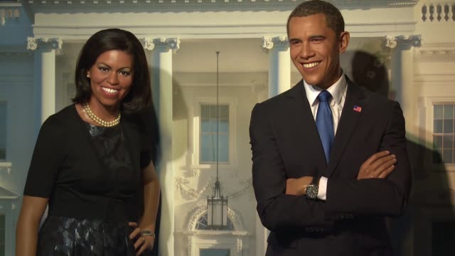 wax figures of first lady michelle obama and president barack obama at donald trump wax figure unveiled at madame tussauds wax museum in dc at madame... - madame tussauds stock videos & royalty-free footage