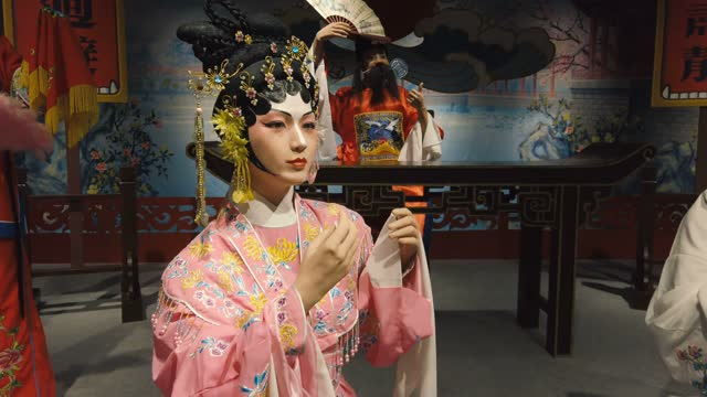 wax statue display ancient chinese officialdom,guangzhou,china - scratched stock videos & royalty-free footage