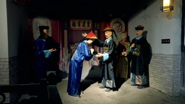 wax statue display ancient chinese officialdom,sichuan,china. - scratched stock videos & royalty-free footage