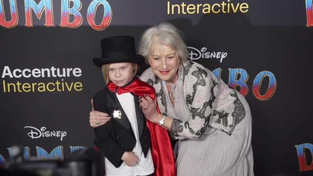"""waylon hackford and helen mirren at the """"dumbo"""" world premiere at the el capitan theatre on march 11, 2019 in hollywood, california. - el capitan theatre stock videos & royalty-free footage"""