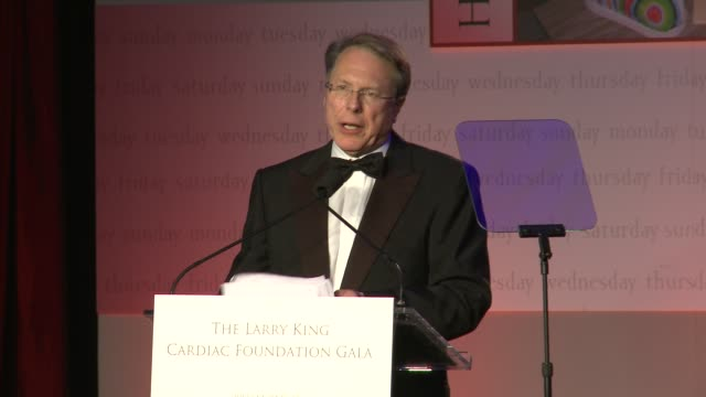 wayne lapierre ceo of the nra on the foundation needing donations and larry's goal in starting it at 18th annual larry king cardiac foundation gala... - national rifle association stock videos & royalty-free footage