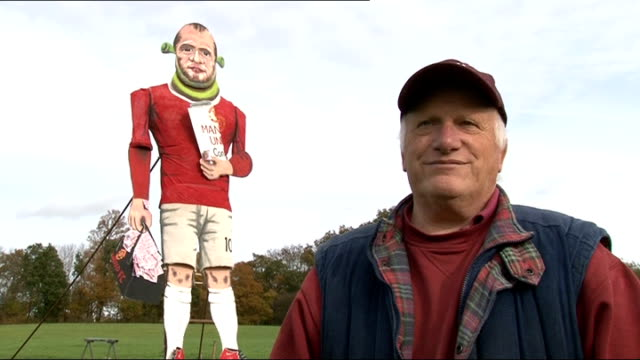 stockvideo's en b-roll-footage met wayne rooney effigy to be burnt on bonfire night charles labour interview sot on why they have given the effigy shrek ears / why they've chosen... - john mccririck