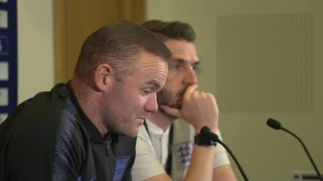 Wayne Rooney rejoining England for one night only UK Wayne Rooney press conference / Wayne Rooney chatting to Gareth Southgate BurtonuponTrent...