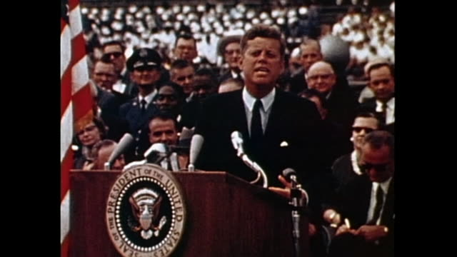 'we choose to go to the moon' the speech was one of kennedy's earlier speeches meant to persuade the american people to endorse the apollo... - speech stock videos & royalty-free footage