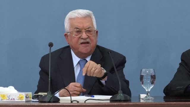 we do not trust america alone to broker a peace agreement between the israelis and palestinians says palestinian president mahmud abbas during a... - ramallah stock videos and b-roll footage