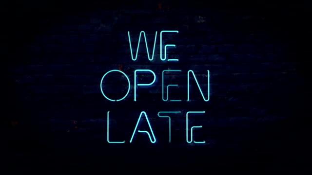 Nous avons ouvert tard Signe néon