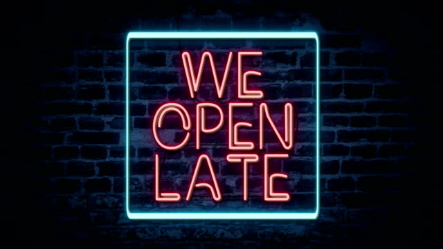 we open late neon sign - neon stock videos & royalty-free footage