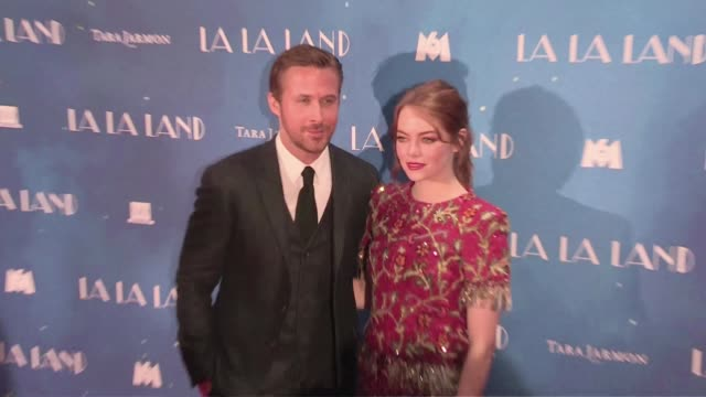 We spotted actress Emma Stone Golden Globe winner Ryan Gosling director Damien Chazelle and his girlfriend actress Olivia Hamilton posing for the...